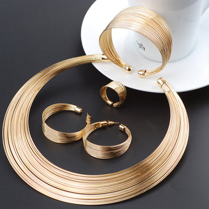 Fashion Dubai Gold Jewelry Sets Exaggerated Gold Line Necklace Set Wedding Gift African Nigeria Jewelry for Women