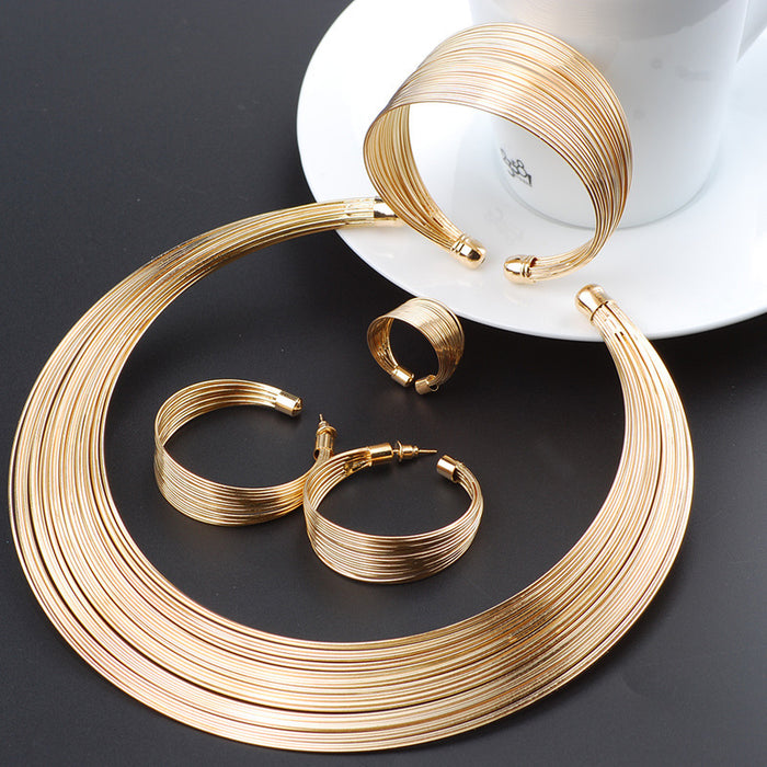 Fashion Dubai Gold Jewelry Sets Exaggerated Gold Line Necklace Set Wedding Gift African