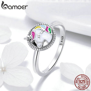 BAMOER Trendy 925 Sterling Silver Colorful Animal Finger Rings for Women Fashion Wedding Engagement Ring Jewelry S925 SCR388