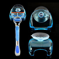 1 PCS razor storage new practical transparent blue plastic razor  frame with suction cup storage rack bathroom accessories