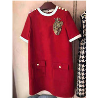 2020 Summer Luxury Women Loose Dress Red Short Sleeve O-neck Mini Dress Fashion Party Brand Designer Plus Size Dress Clothes XXL