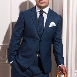 Custom MADE TO MEASURE Blue Groom Wedding Suits For Men BESPOKE Men Suit TAILORED Blue Tuxedos For Men Blue Slim Fit Wool Suits
