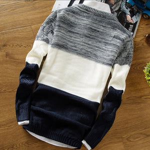 Men Sweater Male Jumper Korean Version Color Matching Sweater Fashion Round Neck Casual Sweater Men Slim Pullover Pull Homme
