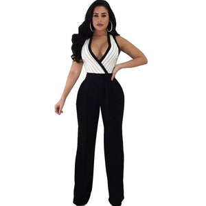 2018 Women Elegant Black Formal Jumpsuits and Rompers Sexy V-Neck Sleeveless Loose Wide Leg Pants Party Club Overalls with Belt