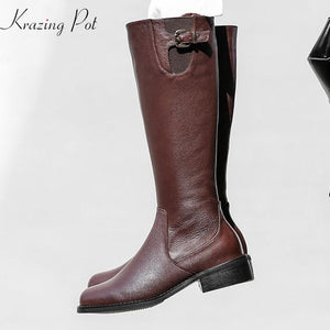 Krazing Pot 2019 genuine leather women round toe med heels zipper metal buckle streetwear gentlewomen riding mild-calf boots L28