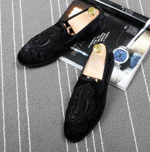 Brand Men Velvet Loafers Men Embroidery Note Party Dress Stage Shoes Smoking Slipper Fashion Men's Flats Sneakers