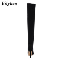 Eilyken 2020 Fashion Runway Stretch Fabric Sock Boots Pointy Toe Over-the-Knee Heel Thigh High Pointed Toe Woman Boot size 35-42
