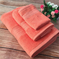 Set of 3 Solid Color Cotton Towel For Adult Xinjiang Home use American Style Cotton Bath Towels Face Towels and Square Towels