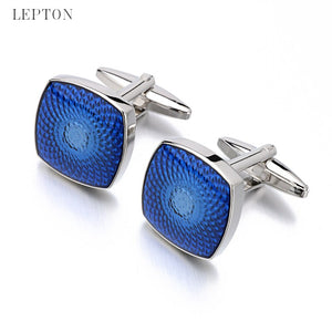 Lepton Brand Fashion Blue Enamel Cufflinks Best Gift for Men's Hot Selling 3/Batch Stainless Steel Square Blue Cufflinks