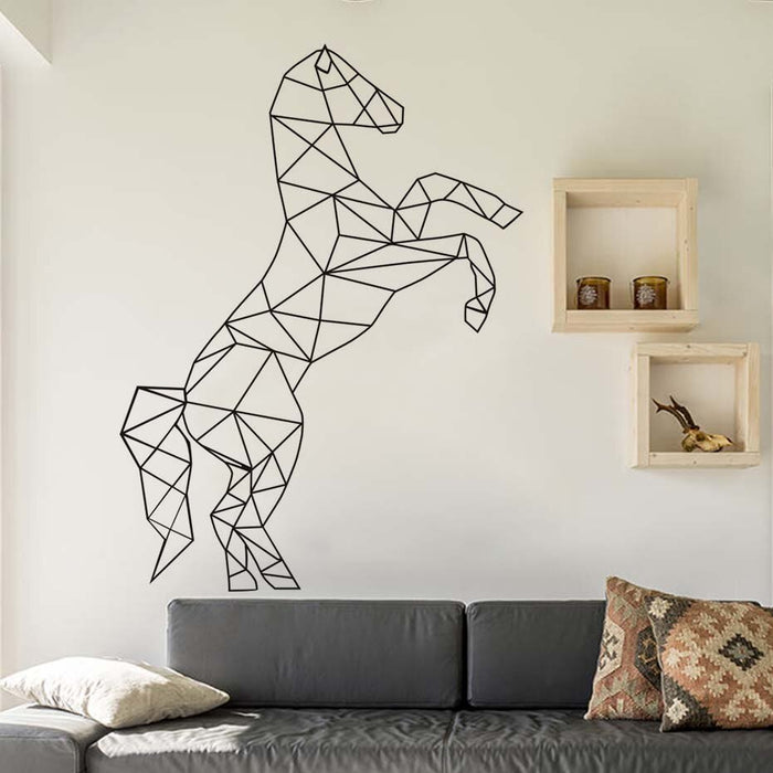 Creative Geometric Shape Horse Wall Sticker For Kids Room Animal Pattern Vinyl Art Mural Wall Decal