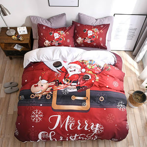 LOVINSUNSHINEComforter Set King Size Cartoon Duvet Cover Christmas Santa Claus Kids Bedding Set