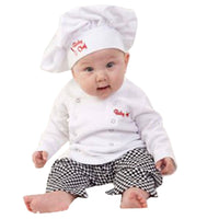 Baby Boy Girl Carnival Cook Chef Halloween Cosplay Outfits Baby Cook Chef Kitchen Uniform T-shirt Pants Hat Photography Costume