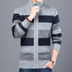 2020 Thick New Fashion Brand Sweater For Mens Cardigan Slim Fit Jumpers Knitwear Warm Autumn Korean Style Casual Clothing Male