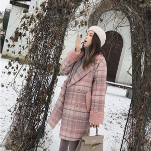 MISHOW 2019 autumn winter plaid woolen coat new fashion causal women turndown collar