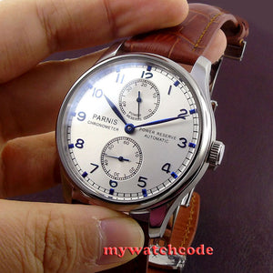 43mm parnis silver white dial power reserve Luxury Brand Genuine Leather deployment clasp automatic movement mens watch P99B
