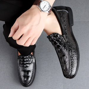 Shoes Men Loafers Leather Moccasin Crocodile Style Footwear Slip On Flat Driving Boat Shoes Classical Male Chaussure Homme 38-46