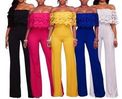 Spring Summer New Sexy Club Wear Overalls For Women Jumpsuit Off  Shoulder Lace Loose Long Rompers Pants Red Blue Yellow