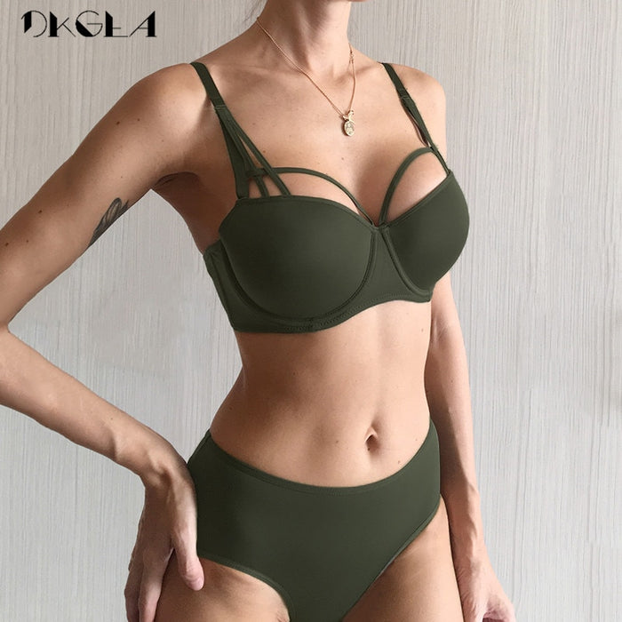 2019 New Hot Sexy Underwear Set Green Cotton Brassiere Push up Bra Sets 3/4 Cup Black