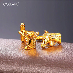 Collare Horse Cufflinks For Mens Gold/Silver Color Rhinestone Crystal Cuff links Luxury Men Jewelry Cufflink High Quality C138