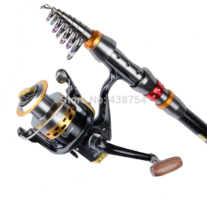 Carbon Fiber Telescopic Fishing Rod Portable Spinning Fishing Rod Pole Travel Sea Boat Rock