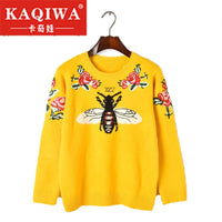 2018 Fashion Runway Women Sweater Autumn Winter Floral Embroidery Bee Animal Sweaters Long Sleeve Yellow Pullover Jumper Tops