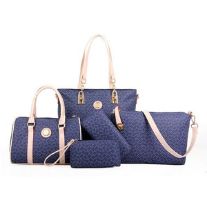 5 Set Famous Brand Women luxury Hand Bag For 2018 PU Leather Purse Bags shoulder Messenger