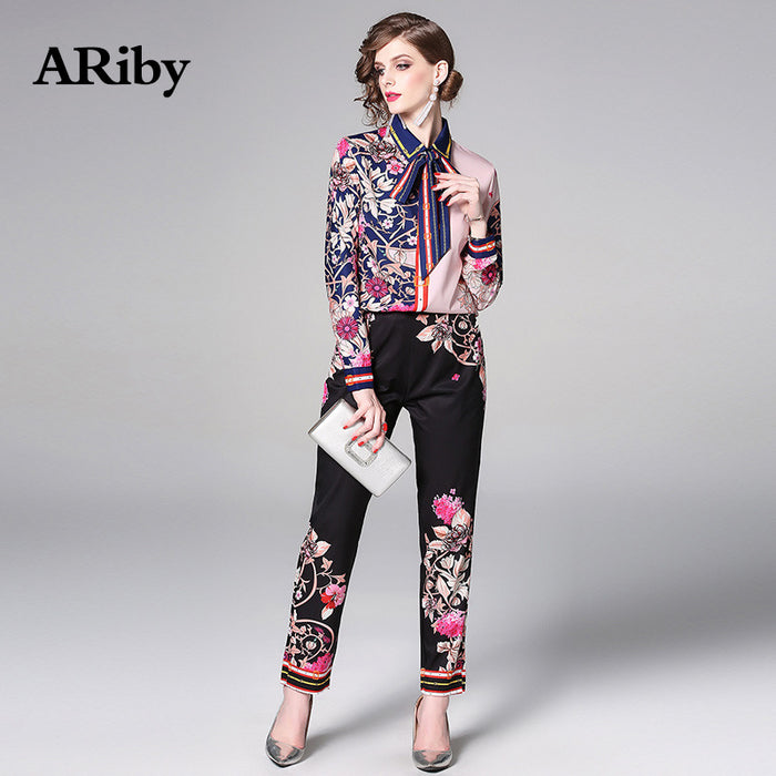 ARiby Women Long Sleeve Printed Elegant Two Piece Set 2019 Spring/Summer Fashion