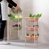 3 Tiers Kitchen Fruit Vegetable Storage Rack Basket Shelf Stand Organizer Plastic Round Toys Snacks Sundries Storage Basket