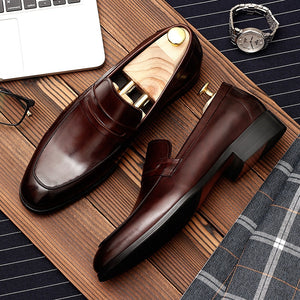 Mens formal shoes genuine leather oxford shoes for men black 2019 dress shoes wedding shoes slipon leather brogues