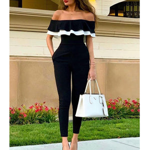 Ruffles design off shoulder jumpsuit women Short sleeve solid black romeprs womens jumpsuit Summer 2019 casual overalls woman