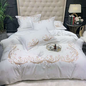 Elegant embroidery Home Bedding Set 100% egyptian Cotton sheet pillowcase Blanket Cover bedlinens