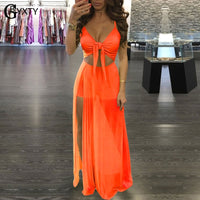 GBYXTY Boho Style Summer Beach Long Maxi Dress Neon Color Mesh Patckwrok Backless Club Party Dress Women Summer Dress ZL179