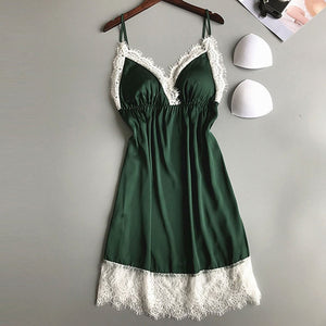 Sexy Satin Strap Nightdress Babydoll Sleepwear Women Sexy Nightgown Satin Nightwear women night dress sleepwear nightwear #15