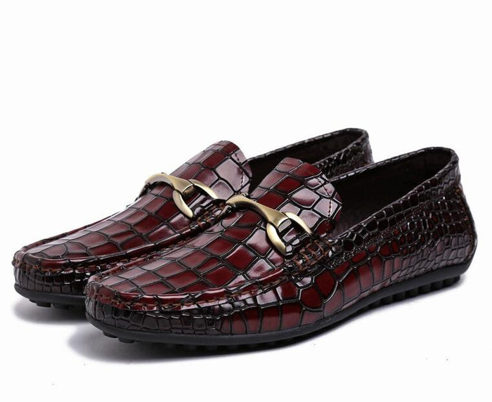 Spring Men's Embosed Patent Genuine Leather loafer slip- on Dress Casual Stone Pattern