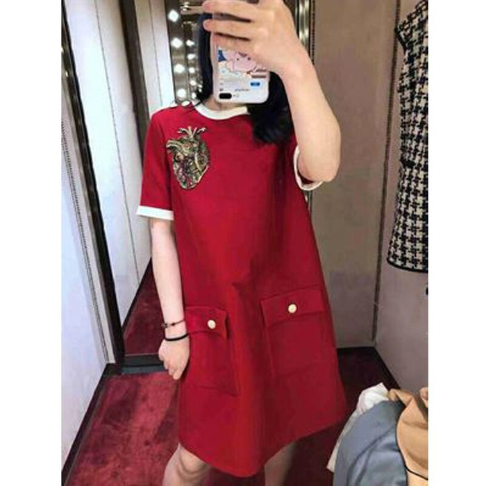 2020 Summer Luxury Women Loose Dress Red Short Sleeve O-neck Mini Dress Fashion Party