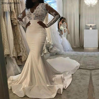 Gorgeous Mermaid Lace Wedding Dresses 2019 Sheer Long Sleeves V Neck Appliques Chapel Train Arabic Bridal Gowns Plus Size