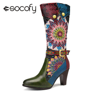 Socofy Retro Bohemian Mid-calf Boots Women Shoes Woman Genuine Leather Cowgirl Boots Vintage Zipper Block High Heels 2019 New