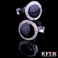 KFLK Luxury shirt cufflink for men's Brand cuff buttons Crystal cuff links Black High Quality gemelos abotoaduras Jewelry
