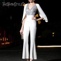 TWOTWINSTYLE Summer Sequin Patchwork Jumpsuits For Women V Neck Flare Sleeve High Waist Elegant Pants Female 2019 Fashion New