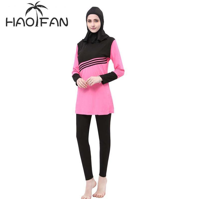 HAOFAN Muslim Women Spa Swimwear Islamic Swimsuit Full Face Hijab Swimming Beachwear