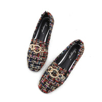 Women Flat Shoes Winter warm fur flats Lady Slip On Breathable Loafers Plus Size 43 Canvas