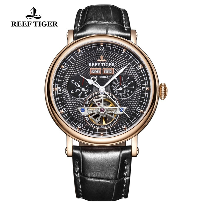 Top Brand Luxury Watch Mens Rose Gold Tourbillon Watch Multifunction Automatic Watches Sapphire