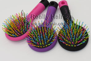 2019 Hot Sele 1pcs Rainbow Volume Anti-static Magic Detangler Hair Curl Straight Massage Comb Brush Styling Tools With Mirror