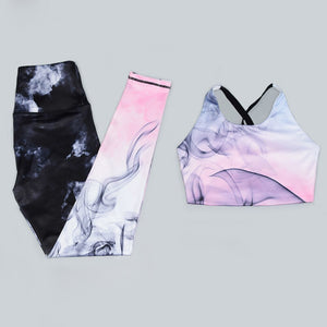 Gradient Women Sportswear Sexy Fitness Female Yoga Set Smoke Ink Ensemble Gym Wear Running Clothing Workout Tracksuit Sport Suit