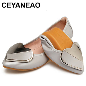 CEYANEAO 2018 Spring Fashion Women Pointed Toe Ballerina Flats Foldable Designer Green Flat Casual Soft Leather Boat ShoesE1109