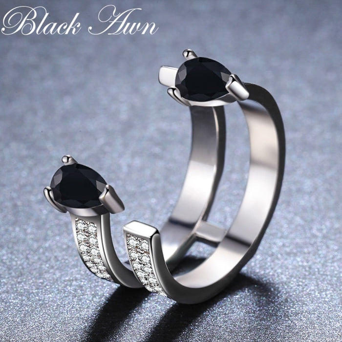 2019 New bijoux Rock 925 Sterling Silver Fine Jewelry Black Spinel Engagement  Ring