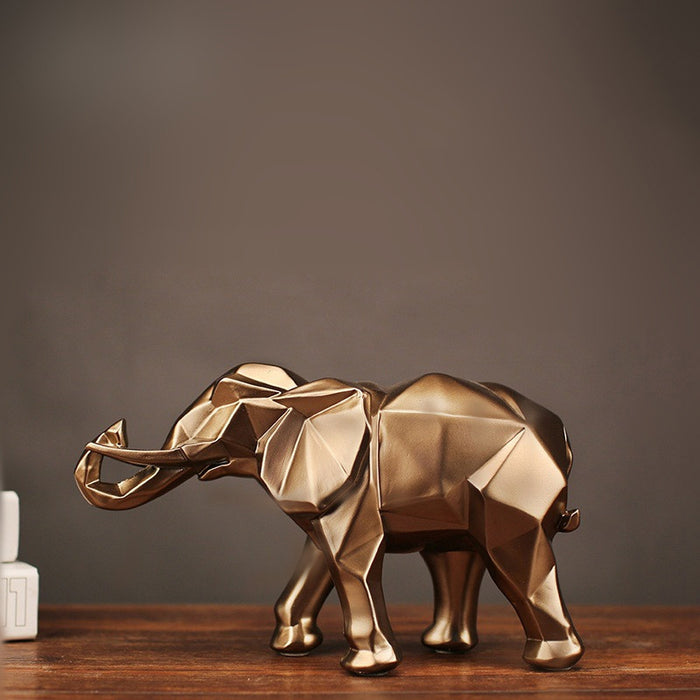 Geometric abstract golden elephant statue resin animal craft retro home decoration elephant