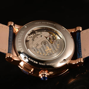 Reef Tiger/RT 2019 Luxury Men  Leather Strap Calendar Rose Gold Case Genuine  Analog Automatic Watches  RGA1978