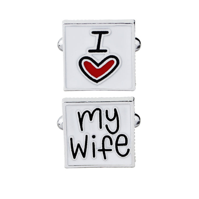 French Style Men I Love My Wife Enamel Square Shirt Suit Cufflinks Fashion Wedding Letters
