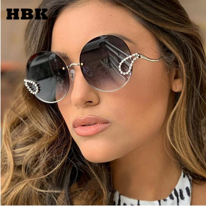 HBK 2019 Luxury Ladies Rhinestone Sunglasses Women Italy Brand Designer Rimless Round